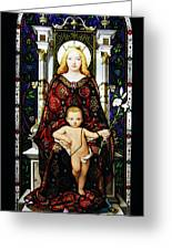 Stained Glass Of Virgin Mary Greeting Card by Adam Romanowicz