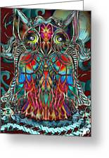 Stained Glass Owl  Greeting Card