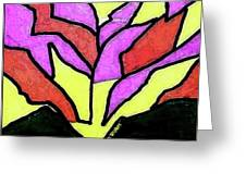Tree - Stained Glass Watercolor Greeting Card