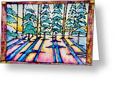 Stained Glass Watercolor Winter Pine Trees Greeting Card