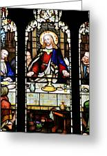 Stained Glass Window Last Supper Saint Giles Cathedral Edinburgh Scotland Greeting Card by Christine Till