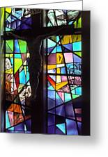 Stained Glass With Crucifix Silhouette Greeting Card