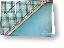 Stairs On Blue Wall Greeting Card