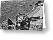 Stairs To Nowhere Pismo Beach Black And White Greeting Card by Priya Ghose