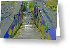 Stairs With Painted Rocks Greeting Card