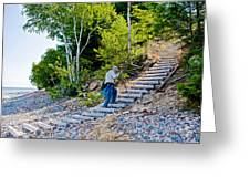 Stairway From Lake Superior Beach To Au Sable Lighthouse In Pictured Rocks National Lakeshore-michig Greeting Card