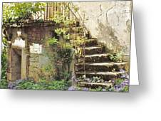 Stairway With Flowers Flavigny France Greeting Card