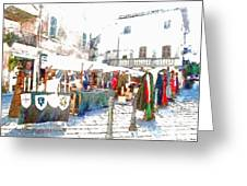 Stalls With Medieval Objects Greeting Card