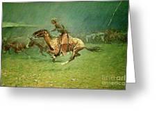 Stampede By Lightning, Digitally Enhanced, Frederic Remington Greeting Card