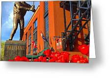 Stan Musial Statue On Opening Day  Greeting Card
