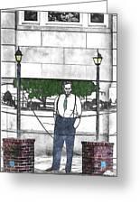 Standing On A Corner In Asheville Carolina Greeting Card