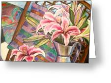 Star Lilies In The Studio Greeting Card