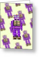 Star Strider Robot Purple Pattern Greeting Card