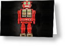 Star Strider Robot Red On Black Greeting Card