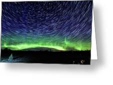 Star Trails And Aurora Greeting Card