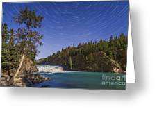 Star Trails And Moonbow Over Bow Falls Greeting Card