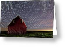 Star Trails At The Red Barn Greeting Card