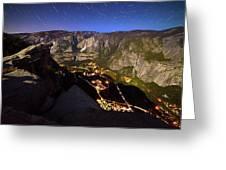 Star Trails At Yosemite Valley Greeting Card