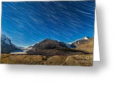 Star Trails Over Columbia Icefields Greeting Card