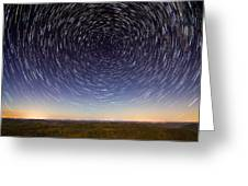 Star Trails Over Mountains Greeting Card