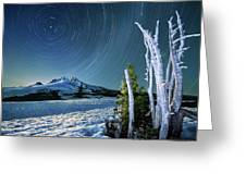 Star Trails Over Mt. Hood Greeting Card