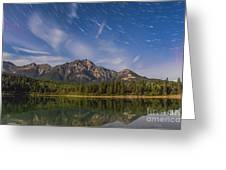 Star Trails Over Patricia Lake Greeting Card