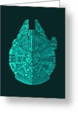 Star Wars Art - Millennium Falcon - Blue 02 Greeting Card