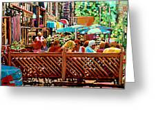 Starbucks Cafe On Monkland Montreal Cityscene Greeting Card