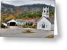 Stark Covered Bridge And Village Greeting Card