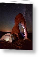 Starlight Tent Camping At Delicate Arch Greeting Card