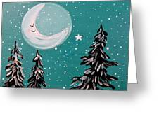 Starry Night Crescent Moon  Greeting Card