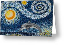 Starry Night Dolphin Greeting Card