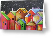 Starry Night In The Little City 1 Greeting Card