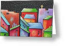 Starry Night In The Little City 2 Greeting Card