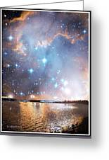 Starry Night Over A Mountain Lake Fantasy Greeting Card