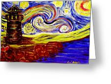 Starry Night Over Nubble Lighthouse  Greeting Card