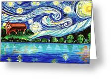 Starry Night Over The Lake Greeting Card