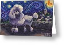 Starry Night Poodle Greeting Card