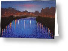 Starry Nights In Dublin Ha' Penny Bridge Greeting Card by John  Nolan