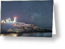 Starry Sky Of The Nubble Light In York Me Cape Neddick Greeting Card
