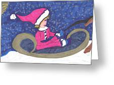 Starry Sleigh Ride Greeting Card