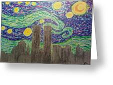 Starry Towers Greeting Card