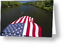 Stars And Stripes Flies Over The Delaware River Greeting Card