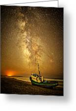 Stars Over Fishing Boat Greeting Card