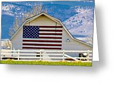 Stars Stripes And Barns Greeting Card