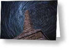Startrails Over Kanza Monument In Kansas Greeting Card
