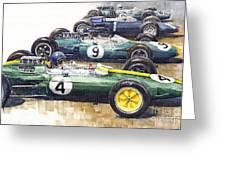 1963 Start British Gp  - Lotus  Brabham  Brm  Brabham Greeting Card