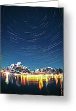 Startrails Above Reine Greeting Card