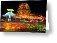 State Fair Rides At Night I Greeting Card by Clarence Holmes