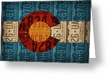 State Flag Of Colorado Recycled License Plate Art Greeting Card